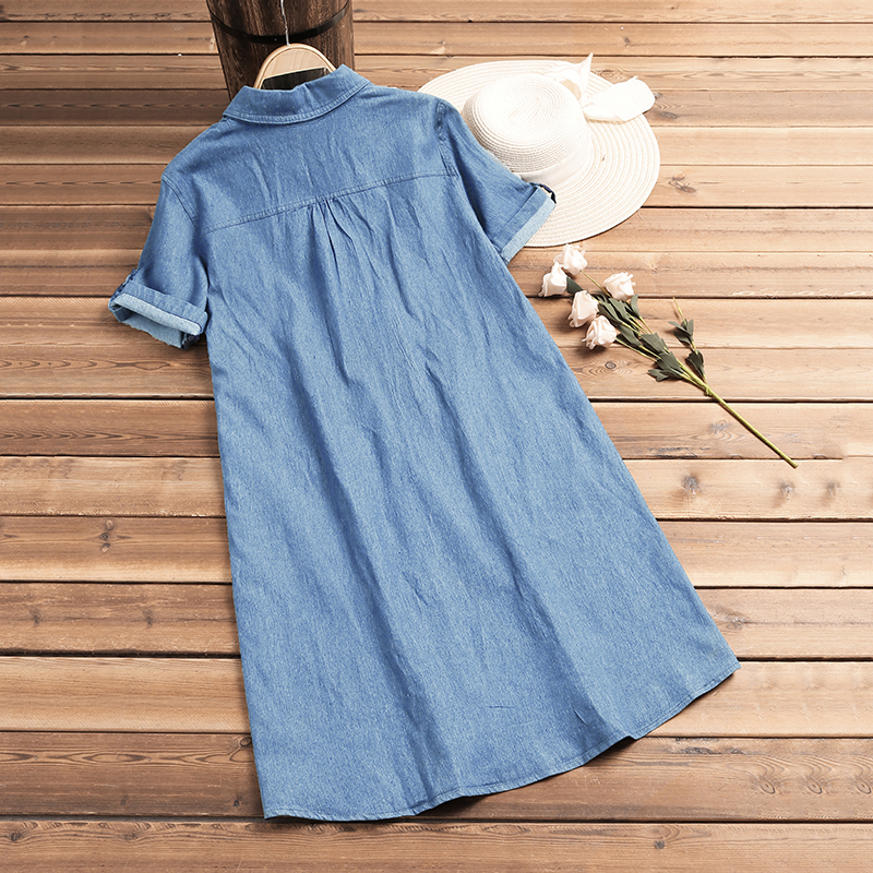 2019 Women Dress Denin Blue Lapel Neck Mini Dresses Summer Casual Loose Short Sleeve Vestido Ladies Sexy Buttons Up Party Dress in Dresses from Women 39 s Clothing
