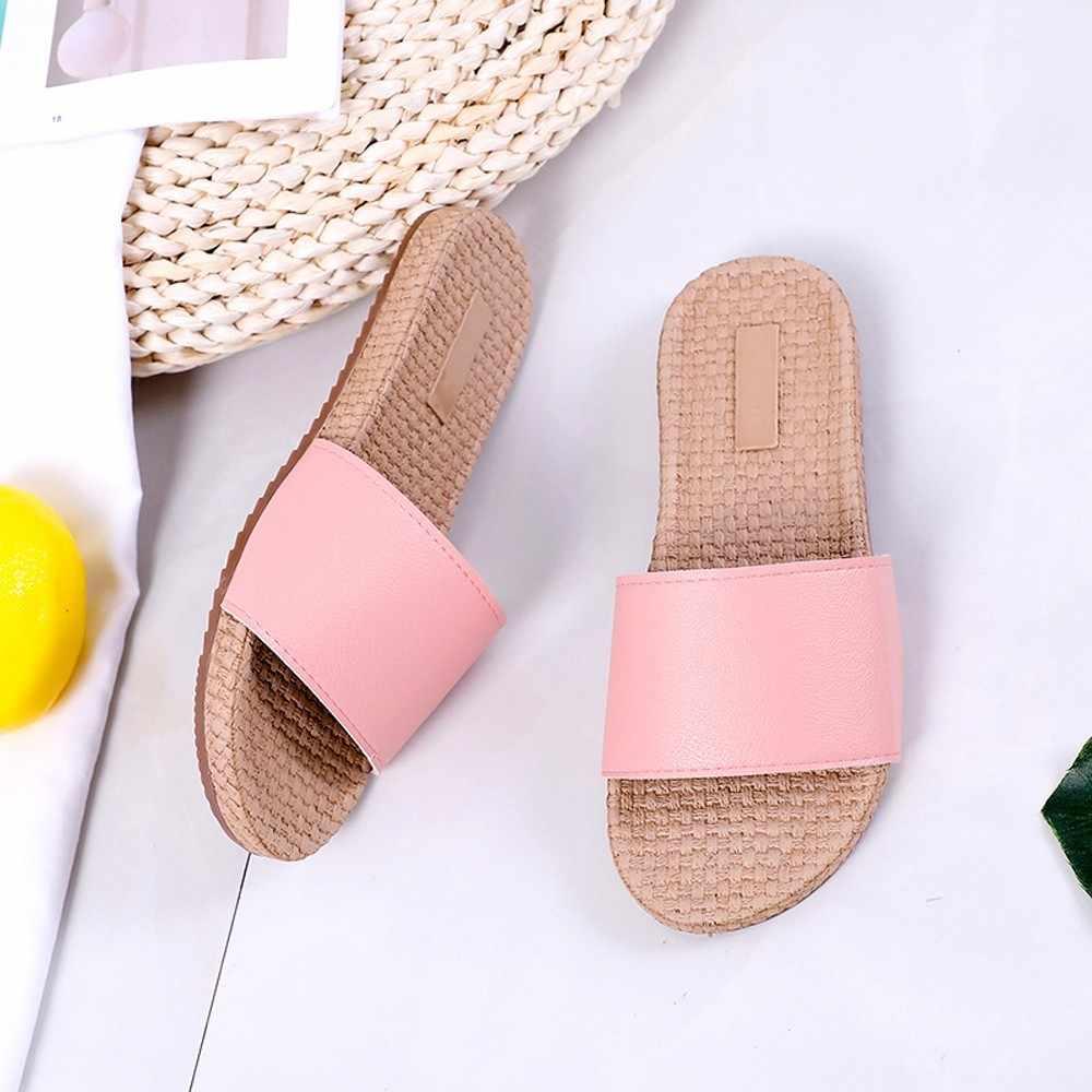 Moda Feminina Verão bolsa de Palha Ocasional Concisa Plana Legal Ao Ar Livre Indoor Chinelos Chinelos De Verfeminina Zapatos Mujer Tacon Novo #8