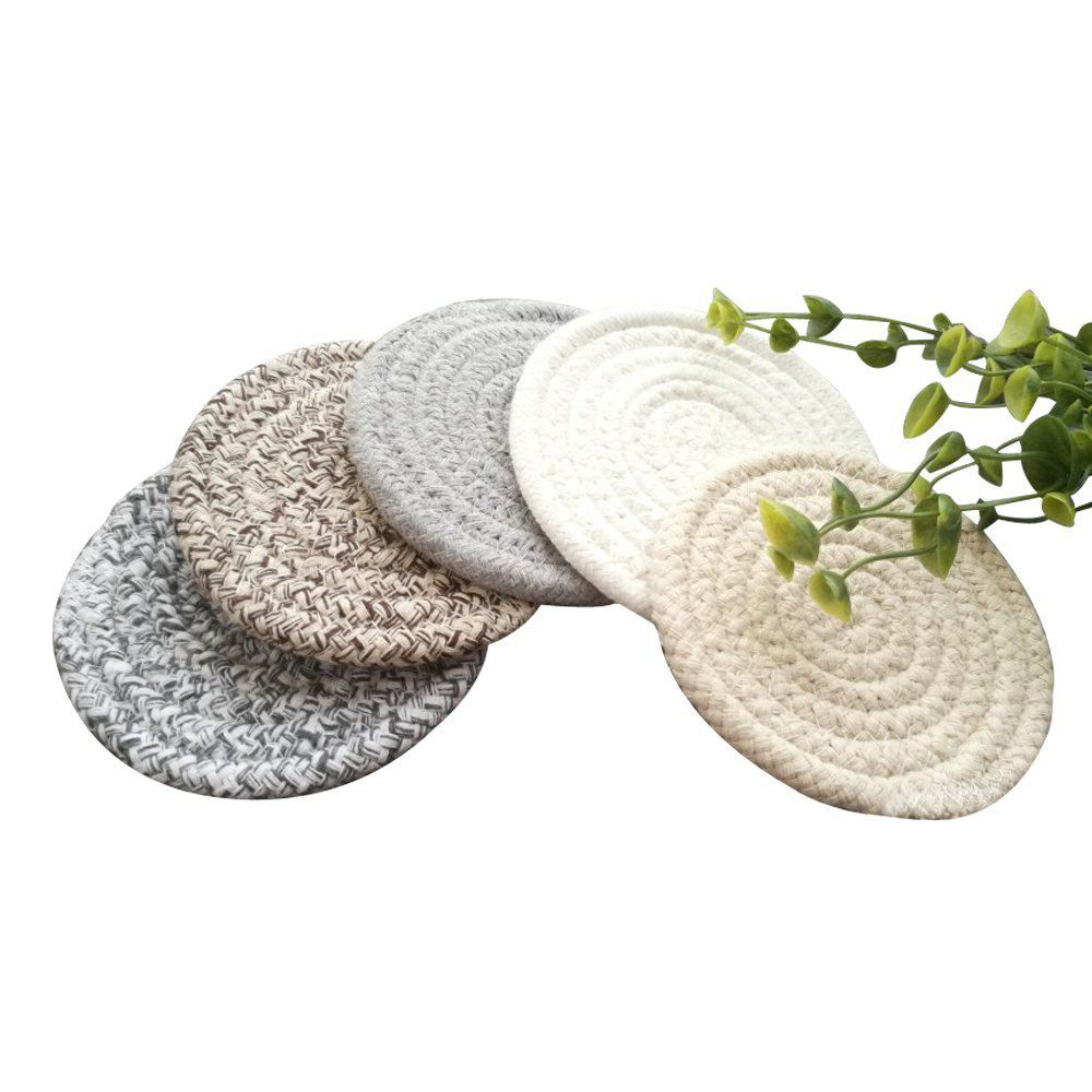 Round Cotton Braided Table Place Mats Coaster Non-Slip Table Mats Set of 5 Cups Dining Kitchen Washable Small