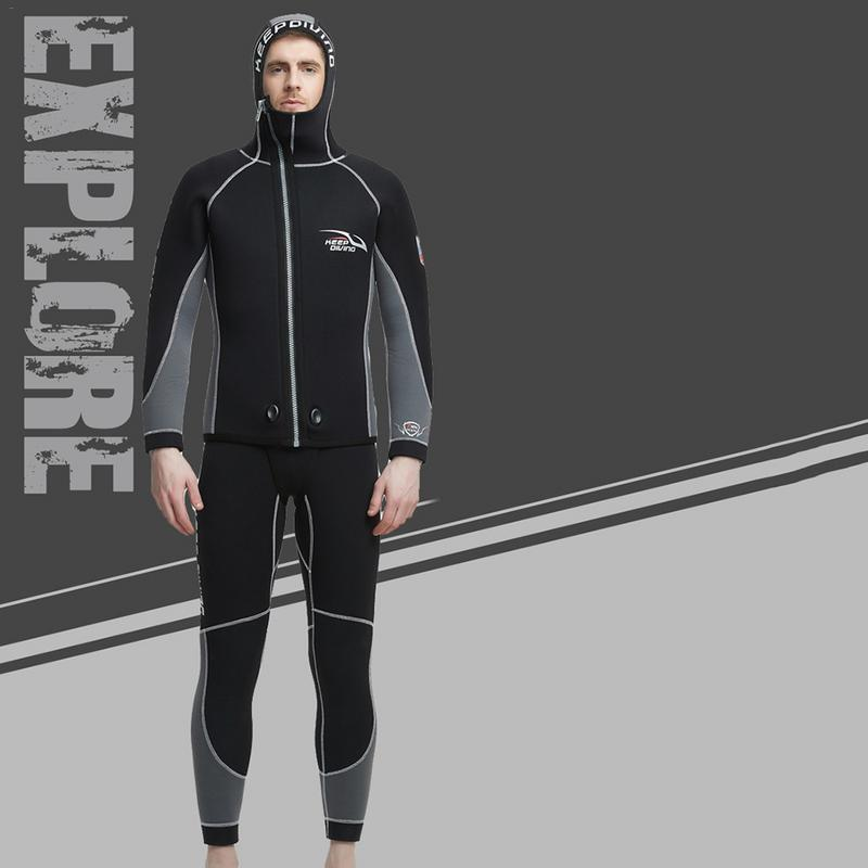 Wetsuit 5 MM Men's 2 pieces Set Hooded Diving Suit WS 815M Thickened Swimwear Swimming Trunks Suit