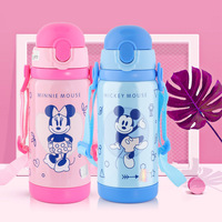 Disney 450ml Baby Mickey Insulated Bottle Thermos Water Cup Feeding With Straw Kids Stainless Steel Bottles Minnie Thermal Cup