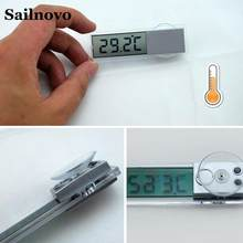 Electronic Car Suction Cup Digital Thermometer Transparent LCD Auto Thermometer On The Window Celsius Fahrenheit Car Accessories(China)