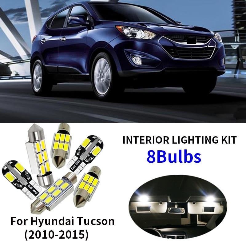 8x White LED Car Lights Interior Bulbs Package Kit For 2010-2015 Hyundai Tucson