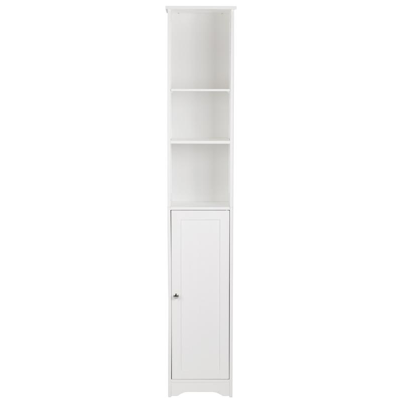 Simple And Modern Style Wall-mounted Standing Bathroom Cabinet  One Door & Three Layers Bathroom Cabinet White