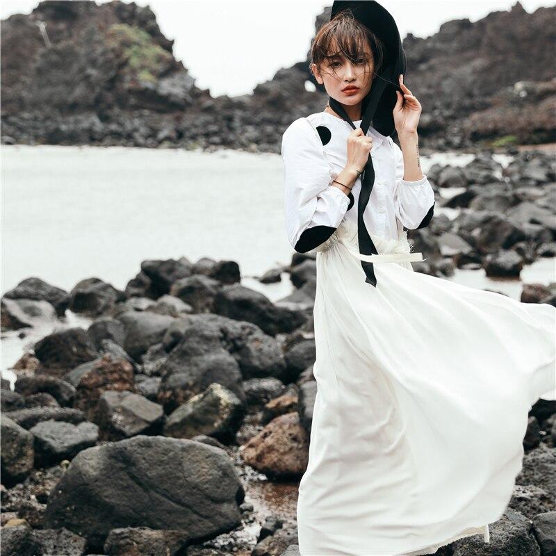 Tissu Femmes Manches Style Mode Blanc Coréenne Vintage Fl682 Nouveau De Printemps 2019 Décontracté Shengpalae Dot Robe White Lanterne D'été Imprimé qS8fxXP1wZ