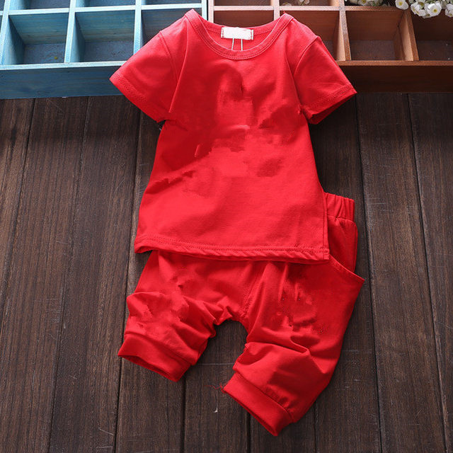 Brand Baby Clothing Designer Newborn Clothes 2019 Summer Baby Girls and Boys Suits Short Sleeved T-shirt + Shorts Clothing Sets 1