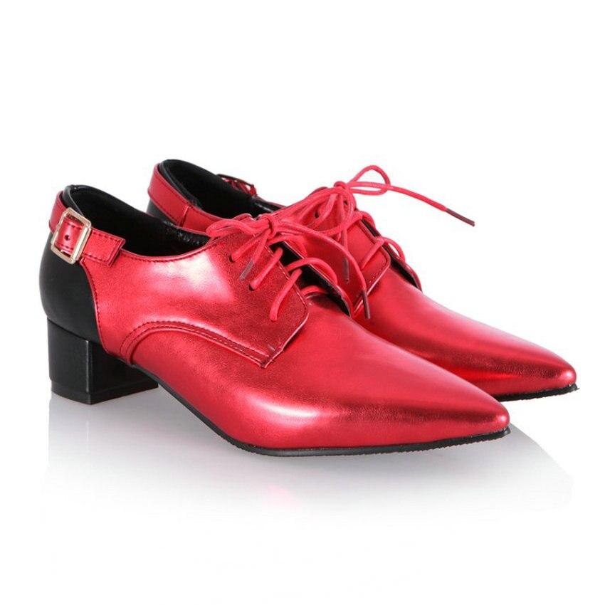 Richelieus Cheville Mariage Parti Grey Talons De Chaussures Point red Hauts Femmes Mode Nouveau Gold Up Punk Bottes dark Lace Casual white Toe q4WOYnwZH