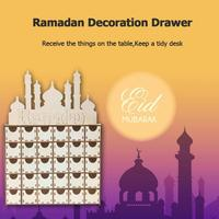 DIY Drawer Ramadan Mubarak Islamic Decor Ornaments Festival Party Supplies Fashion New Family Multifunction Plywood DIY Drawer