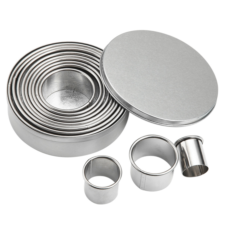12 sets Stainless steel mousse ring of circular cookie mold turning sugar mould baking tools in Cookie Tools from Home Garden