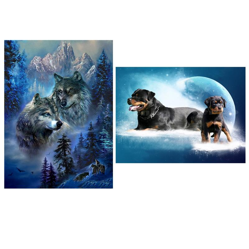 New DIY Diamond Painting Dog Wolf Pattern Full Diamond Modern Home Decoration Painting Living Room Mural Paintings
