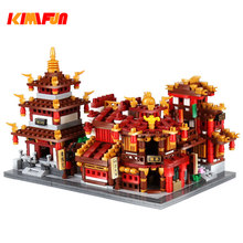 350 pcs+ City Creator Chinatown City Style Model Building Blocks Chinese architecture Bricks Toys Compatible With(China)