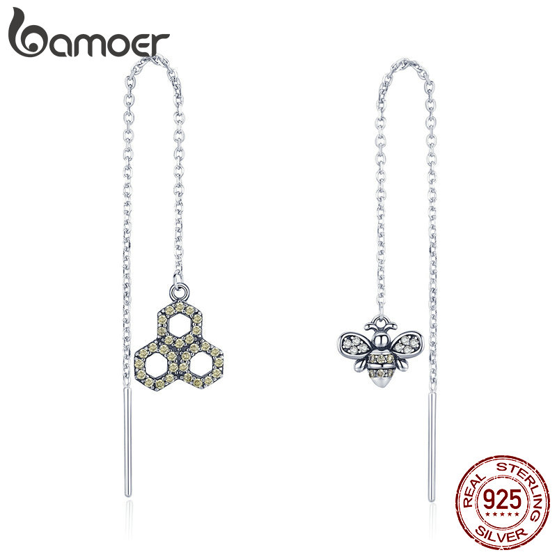 BAMOER 925 Sterling Silver Crystal Bee Love Honeycomb Long Chain Drop Earrings For Women Sterling Silver Earrings Jewelry SCE484