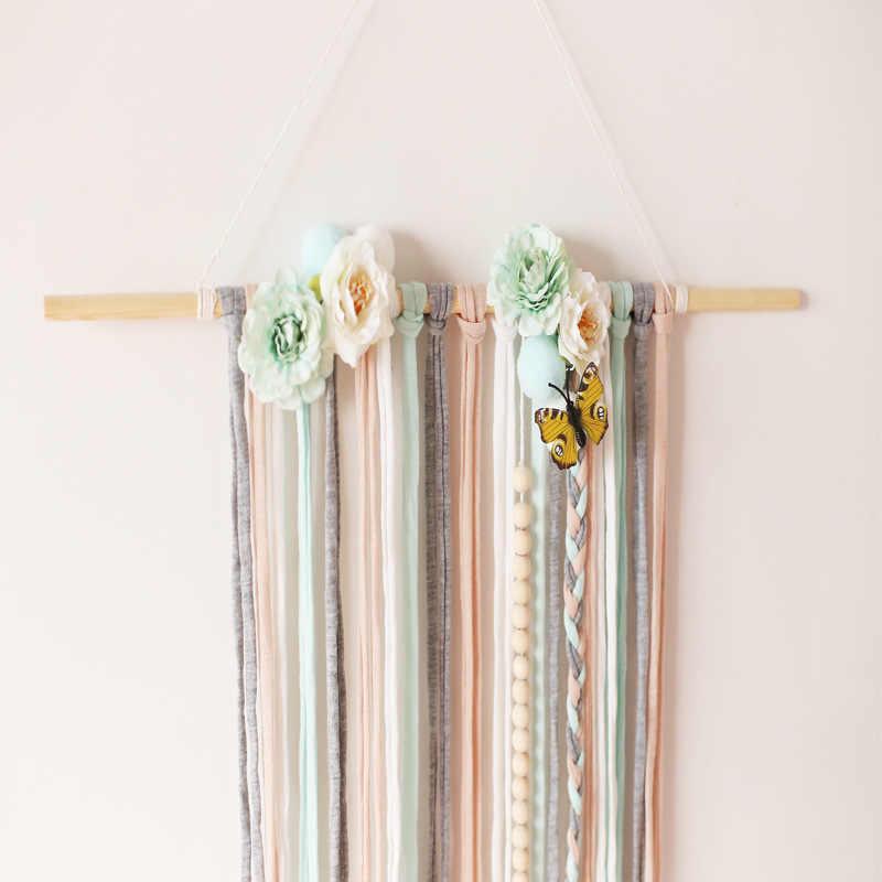 Nordic สไตล์ Boho Rainbow Art Macrame Tassels แขวนผนังไม้ตกแต่งบ้านออกแบบ Prop ตกแต่งบ้าน Enfant