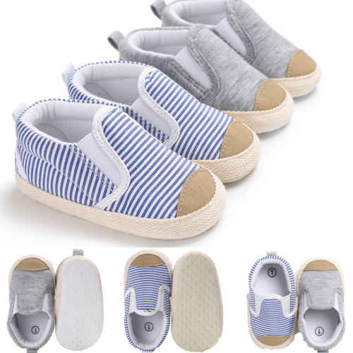 Gray blue Striped Canvas Newborn Toddler Baby Kids Boy Girl Fashion Cotton Soft Sole Crib Shoes Striped Sneaker First walkers