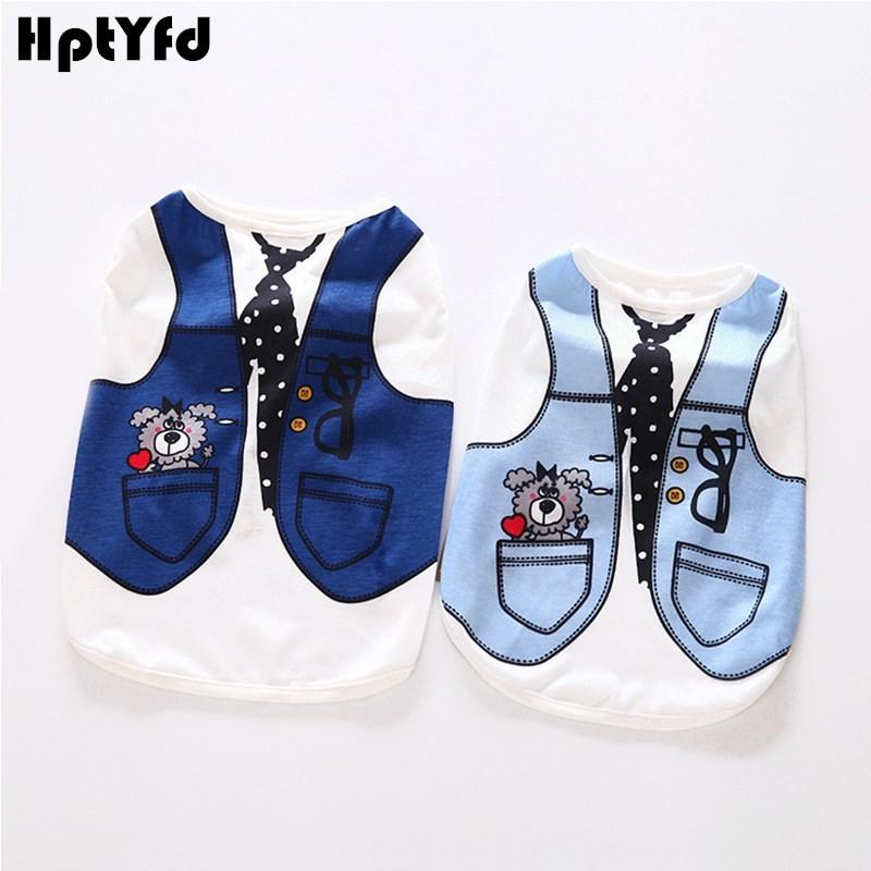 4 Style Cool Pánské tričko Vest Bavlna Pet Oblečení pro kočky Malí psi Letní oblečení Kravata Cartoon Chihuahua Teacup Vest