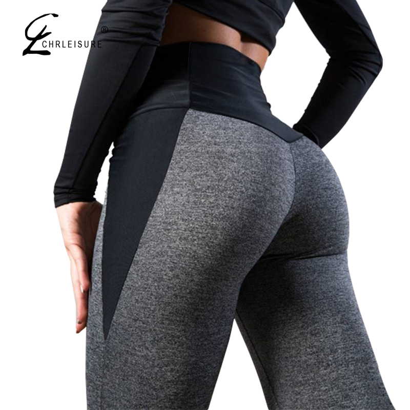 CHRLEISURE Women High Waist Fitness   Leggings   Push Up Women Leggins Femme Patchwork Polyester Leggins Feminina