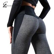 CHRLEISURE mujer Fitness Legging cintura alta a las mujeres Leggings Mujer Patchwork poliéster Leggins femenina