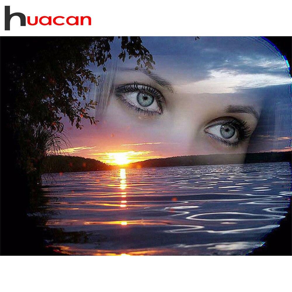 Huacan diamant mosaïque paysage plein carré forage diamant broderie yeux peinture strass point de croix femme décoration bricolage