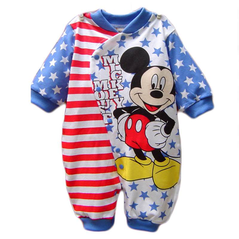 Baby Boy Clothes Cotton Baby Rompers Mickey Rouaps Bebe Cartoon Baby Girl Clothes Spring Infant Jumpsuits Long Sleeves