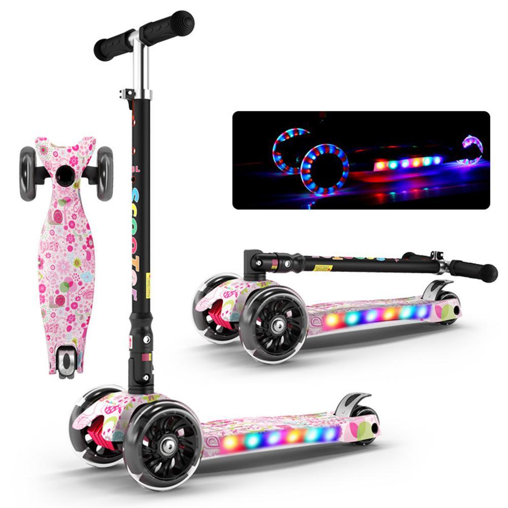 Scooter pliant enfants avec musique multi-fonction Graffiti scooters à trois roues Flash