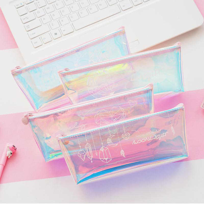 Cute Diamond Pencil Case Kawaii Pencil Pouch Creative Laser Pen Case For Girls Gifts Back To School Office Supplies  Stationery