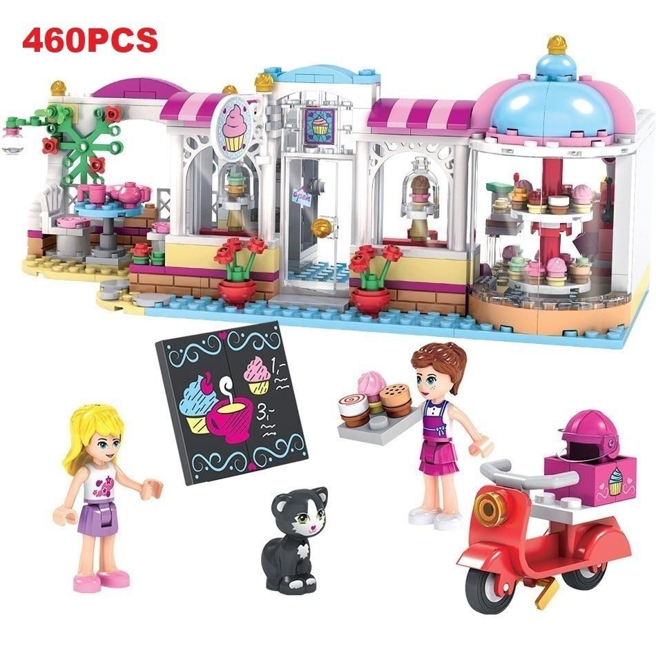 460pcs Coffee Cake Shop Model Friend Building Blocks Sets Compatible Legoed Friends Bricks Kids Classic Toys Gifts WJ054