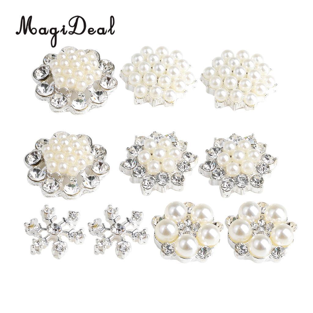 5x Diamante Rhinestone Flower Decorative Craft Button Clothing Embellishment