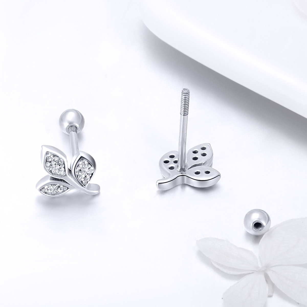 Jiayiqi 925 Sterling Silver Prevent Allergy sliver Leaf Stud Earrings charm for Women Bridal Wedding Earrings Jewelry in Stud Earrings from Jewelry Accessories