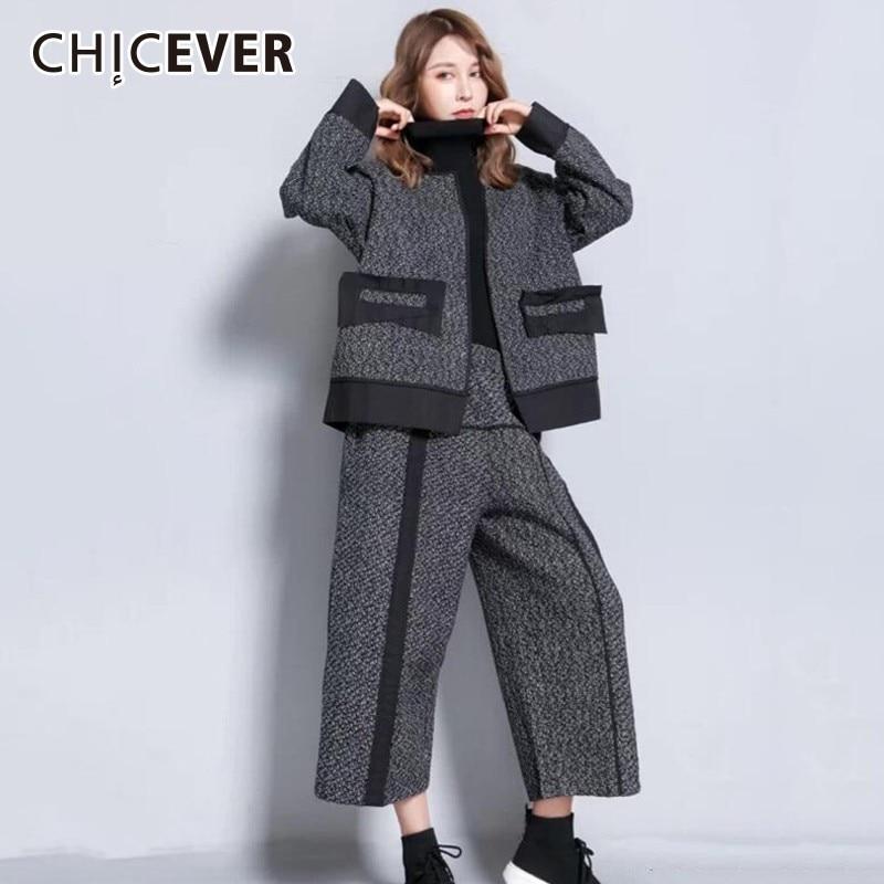 Chicever 2019 가을 히트 색상 여성 정장 두 조각 세트 긴 소매 여성 자 켓 높은 허리 와이드 레그 바지 패션 조수-에서여성 세트부터 여성 의류 의  그룹 1