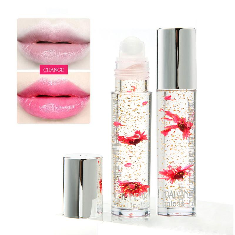 5 Colors Flower Lipgloss Gold Foil Temperature Color Change Lip Gloss Moisture Crystal Transparent Lipstick 40 4