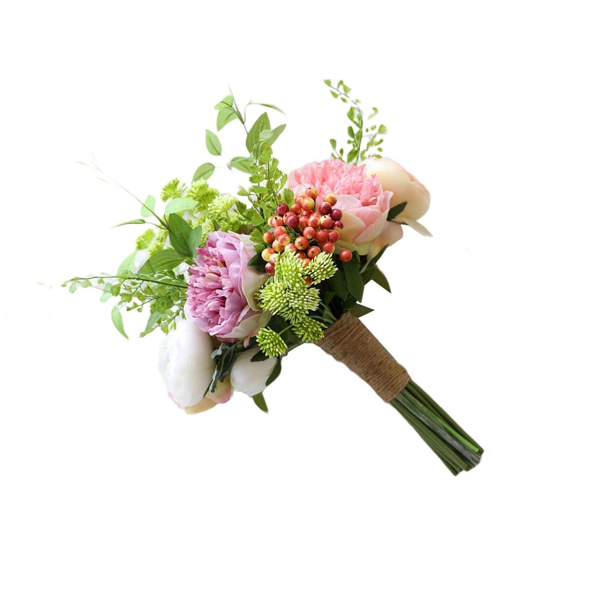 1 Bund Hochzeit Bouquet Simulation Blume Beere Künstliche Pfingstrose Festival Hochzeit Braut Mit Blume Foto Prop GüNstige VerkäUfe
