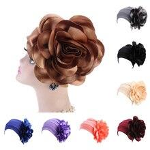 3D Big Flower Head Cover Women Bandanas Fashion Headscarf Muslim Turban Chemo Cap Ladies Floral Beanies Hats Party Headwear