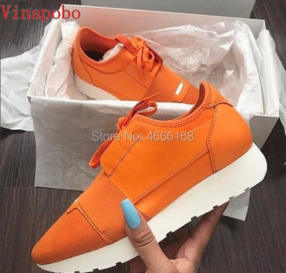 Fashion luxury Designer Mixed Colors Sneaker Man Woman Casual Shoes Genuine Leather Mesh pointed toe Race