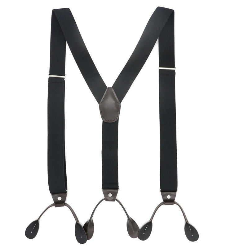 6 Buttons Suspenders Man/women Fashion Braces Adjustable PU Leather Suspenders Bretelles Y-Back Ligas Tirantes 3.5*120cm