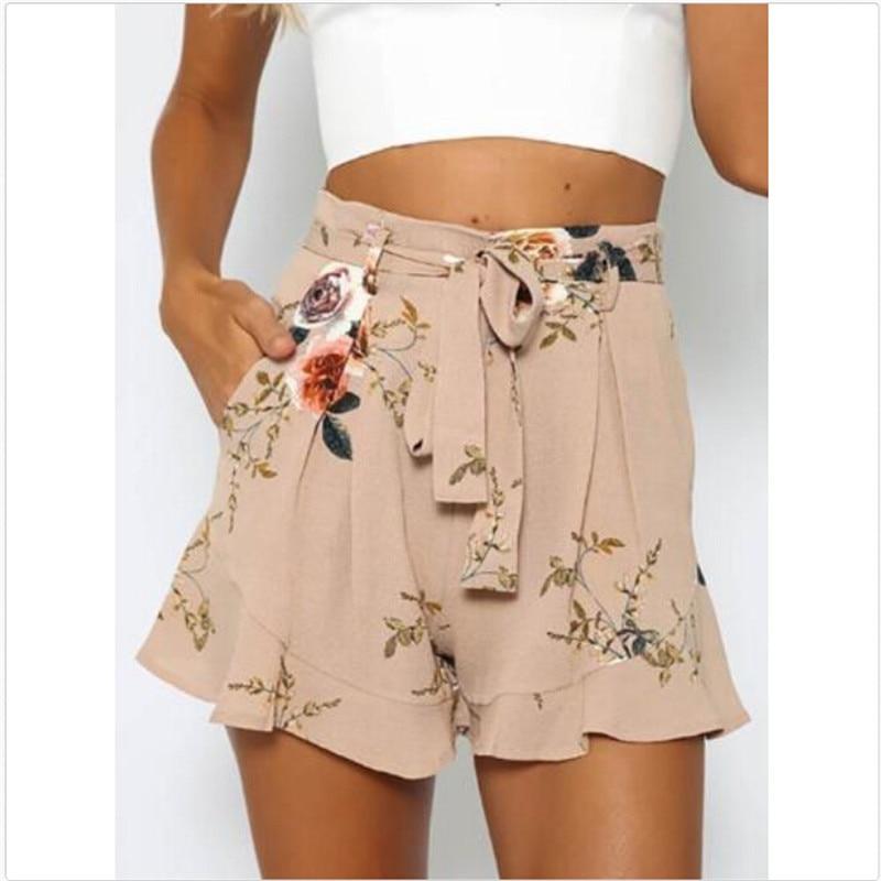 Summer Clothes Shorts Women Print Bandage Belt Slim Ruffled Floral Print Sweet Girl Shorts