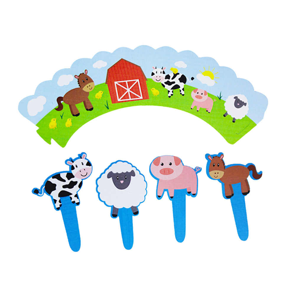 24PCS Cupcake Wrappers and Toppers Decorative Cute DIY Cartoon Farm Theme Cupcake Toppers Wrappers Picks for Birthday Home Party