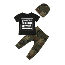 3Pcs Newborn Baby Boy Clothes Boys Tracksuit T-shirt Tops Pants Hat Camouflage Baby Boy Clothing Set Toddler Boys Clothing Set newborn denim single breasted 3pcs set coat t shirt jeans bebes baby boy newborn baby clothes full sleeve baby boy clothes
