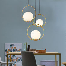 LED E27 Ring Gold Art Kitchen Dining & Bar Pendant Lights for Bedroom Bedside Furniture Lighting Pendant Lamp Fixtures Luminaria(China)