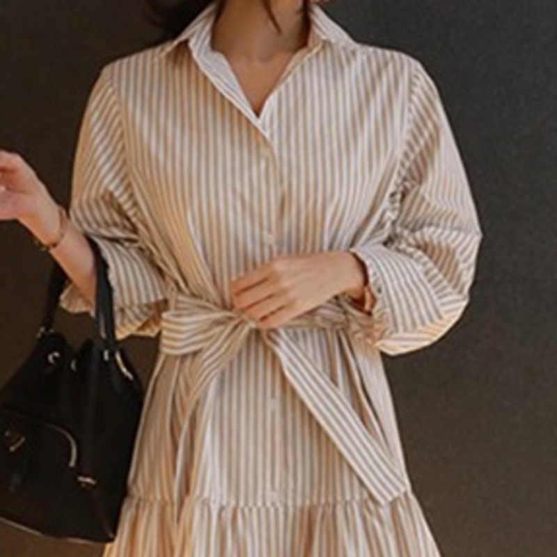 LANMREM, новинка 2019, свободное платье с отложным воротником и поясом, платье с бантом, женское длинное платье в полоску, осенняя Асимметричная одежда, BD028