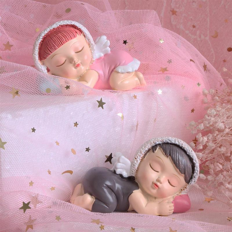 New Resin Birthday Cake Topper Cute Sleeping Baby Desktop Ornaments With Angel Wings Wedding Gifts Girl Boy A3 in Cake Decorating Supplies from Home Garden