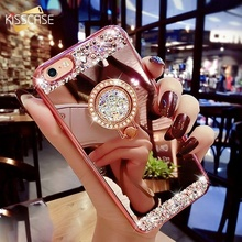 KISSCASE Diamond Glitter Mirror Phone Case For iPhone 6 6S 7 Plus  Finger Ring Holder Stand X 5 5S Se 8