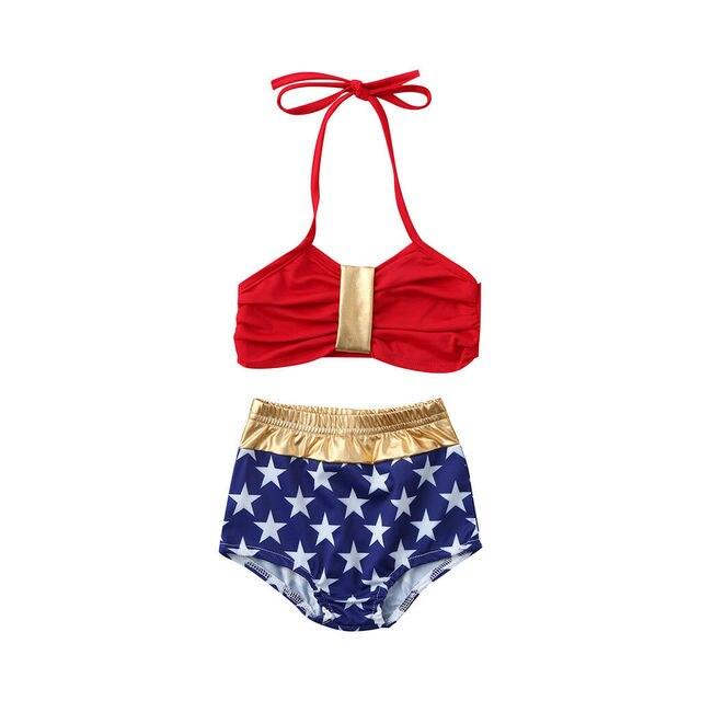 Maillot de bain 2 pièces pour filles | Avec bretelles, taille haute, étoile, short, ensemble Bikini, pour 1-6ans, vêtements dété, 2019