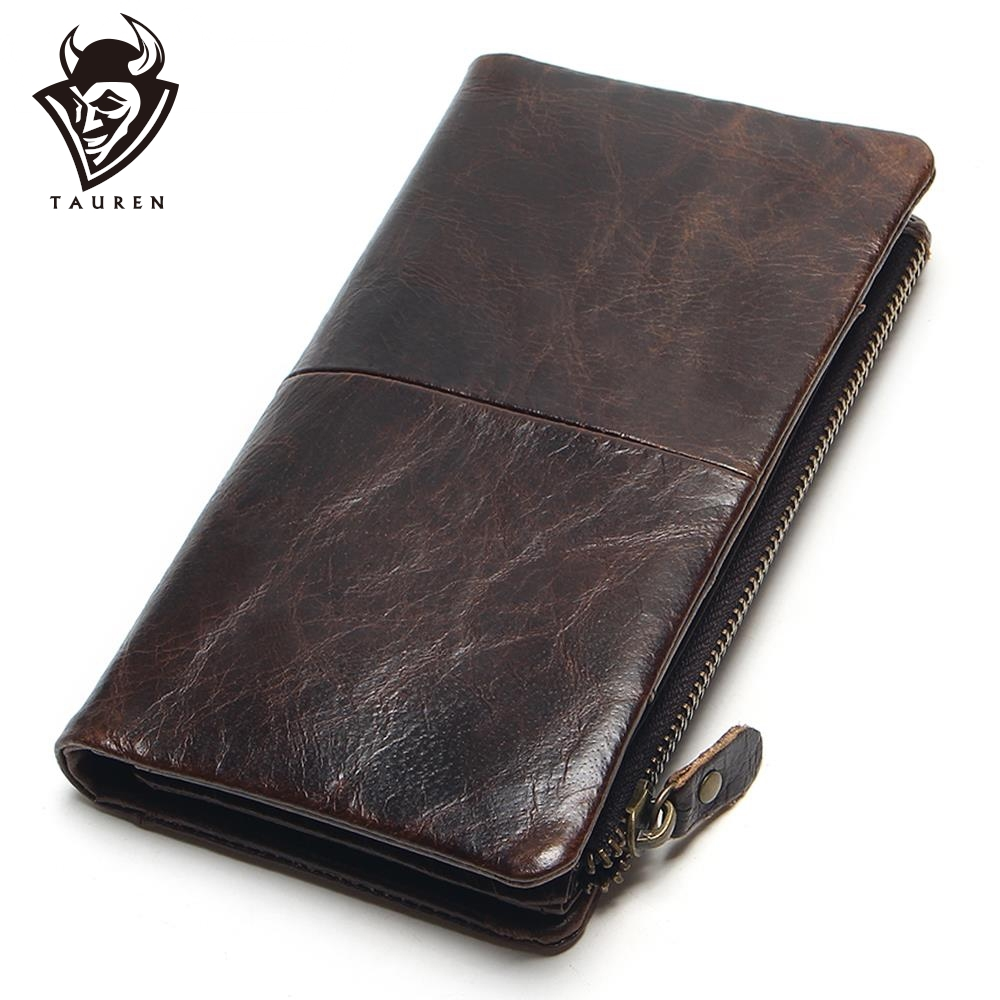 The 2020 New First Layer Of Real Leather Men's Oil Wax Retro High-Capacity Multi-Card Bit Long Wallet Clutch Men Genuine