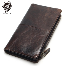 The 2020 New First Layer Of Real Leather Mens Oil Wax Retro High Capacity Multi Card Bit Long Wallet  Clutch Men Genuine