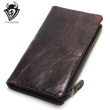 The 2020 New Layer Of Real Leather cartera de mano para hombre, billetera larga, Retro, de alta capacidad, varias tarjetas, cera de aceite
