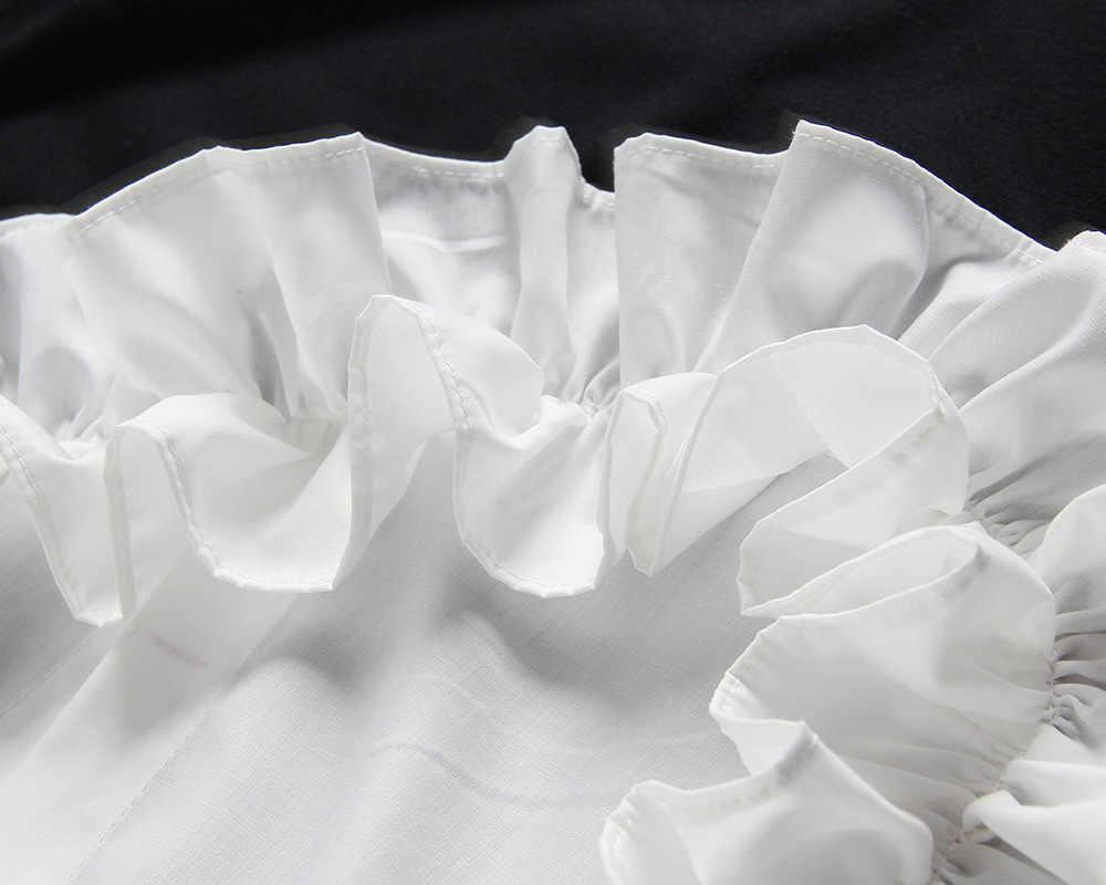 [EAM] 2019 Новинка Весна Лето круглый вырез короткий рукав черное свободное объемное свободное платье с оборками Женская мода JR674