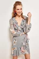 Трендовое платье с цветочным рисунком; серо-однобортное платье; TOFSS19WX0006