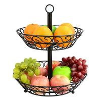 New European Style Fruit Basket Household Rack Double deck Fruit Stand Kitchen Organizer For Storage