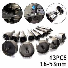 цена на High Quality 13Pcs Carbide Tip TCT Drill Bit Hole Saw Set 16-53mm for Stainless Steel Metal Alloy Cutting Tools Hole Saw Cutter