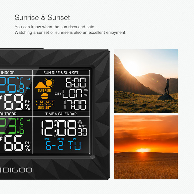 LCD Color Weather Station + Outdoor Remote Sensor Thermometer Humidity Snooze Clock Sunrise Sunset Calendar 3